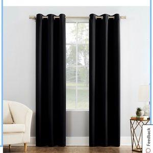 Black out curtains (pair) color black 45x80